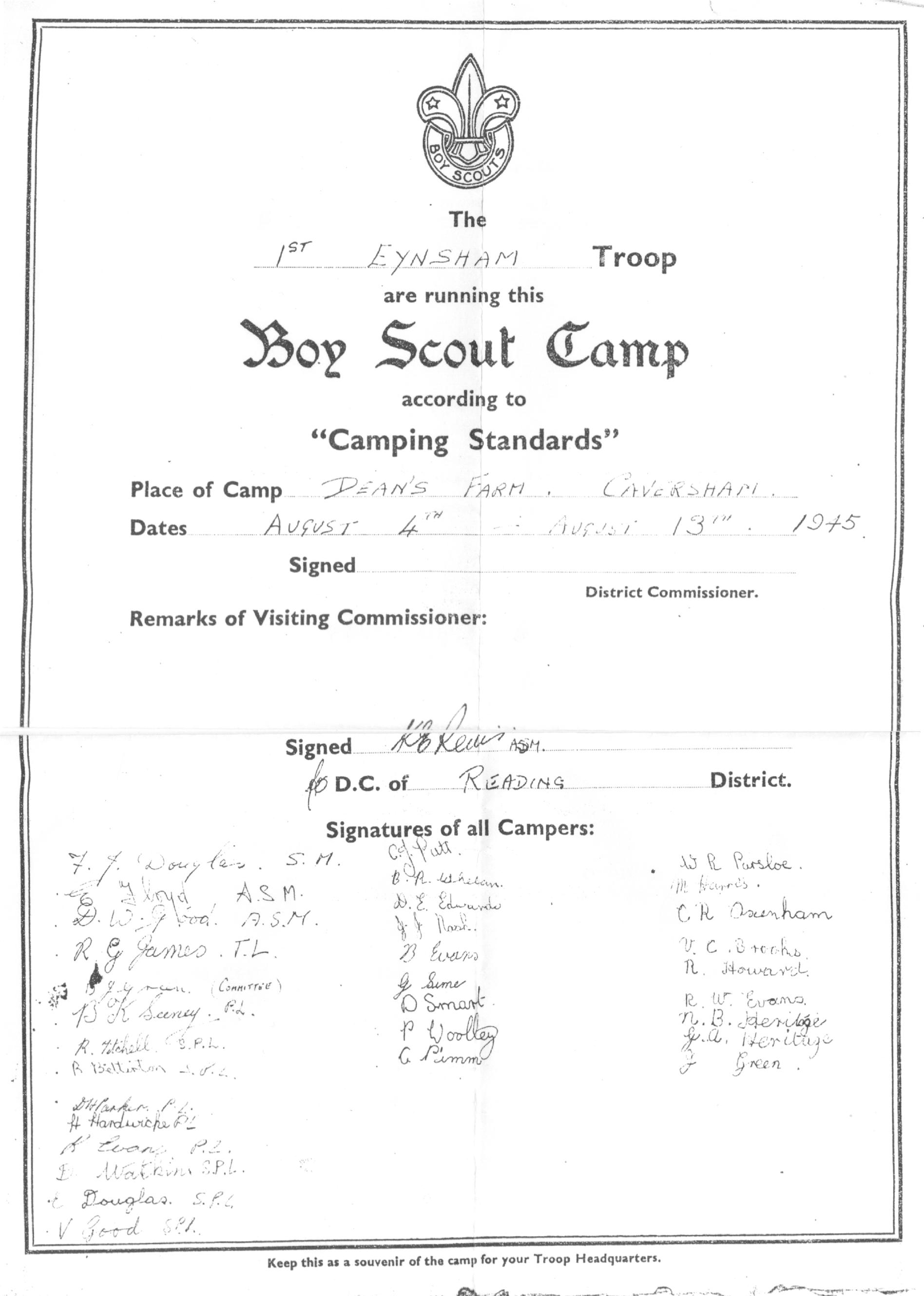 1945 Camping Standards Awards Caversham