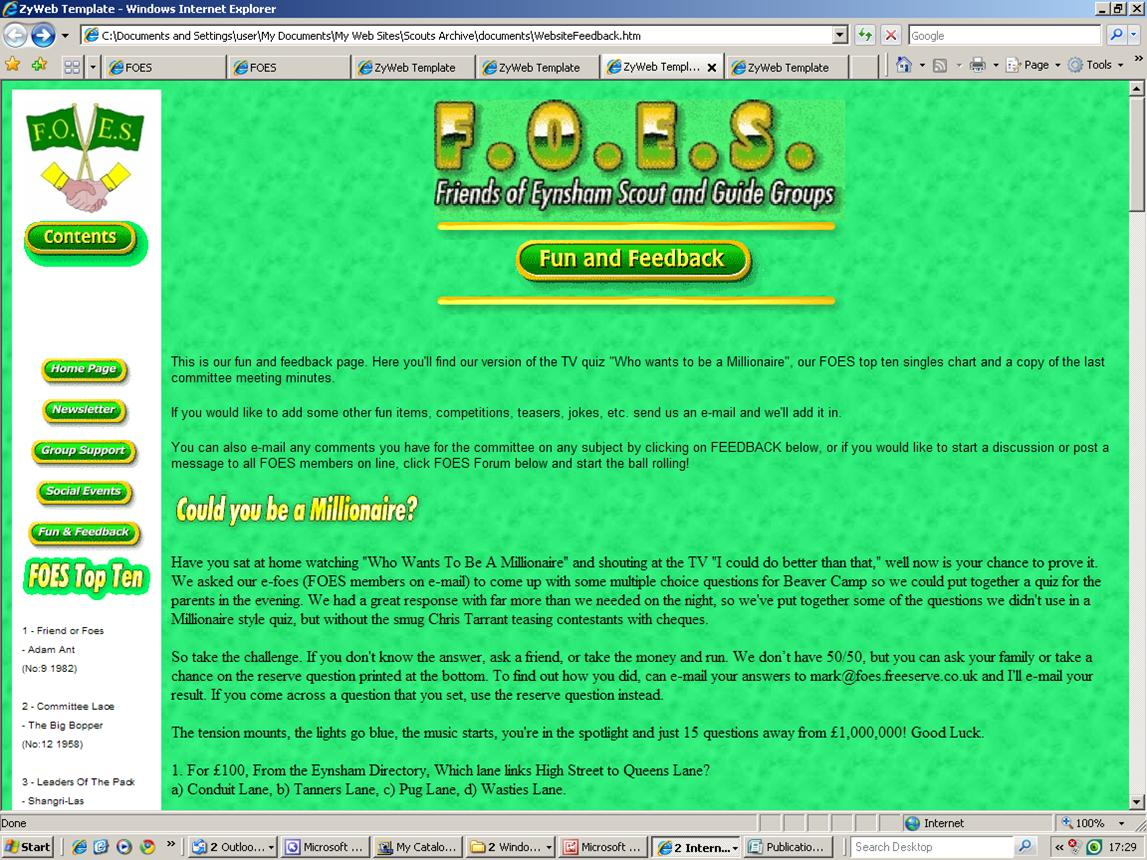 2000 FOES FUN & FEEDBACK WEB PAGE