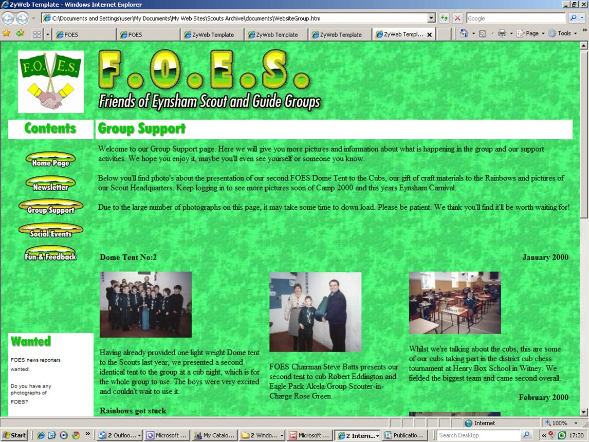 2000 FOES GROUP SUPPORT WEB PAGE